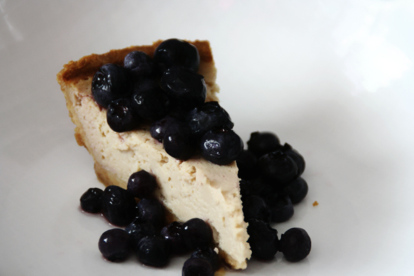 Vegan tropical cheesecake with blueberries