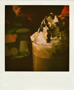 Polaroid closeup of a hot chocolate